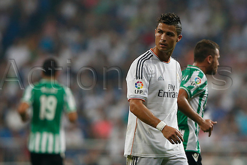 18.08.2013. Madrid, Spain, La Liga football  Real Madrid CF versus  Real Betis Balompie (2-1) at Santiago Bernabeu stadium. The picture shows Cristiano Ronaldo (Portuguese forward of Real Madrid)