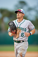 Daytona Tortugas left fielder TJ Friedl (6) jogs off the field during a game against the Florida Fire Frogs on April 7, 2018 at Osceola County Stadium in Kissimmee, Florida.  Daytona defeated Florida 4-3 in a six inning rain shortened game.  (Mike Janes/Four Seam Images)