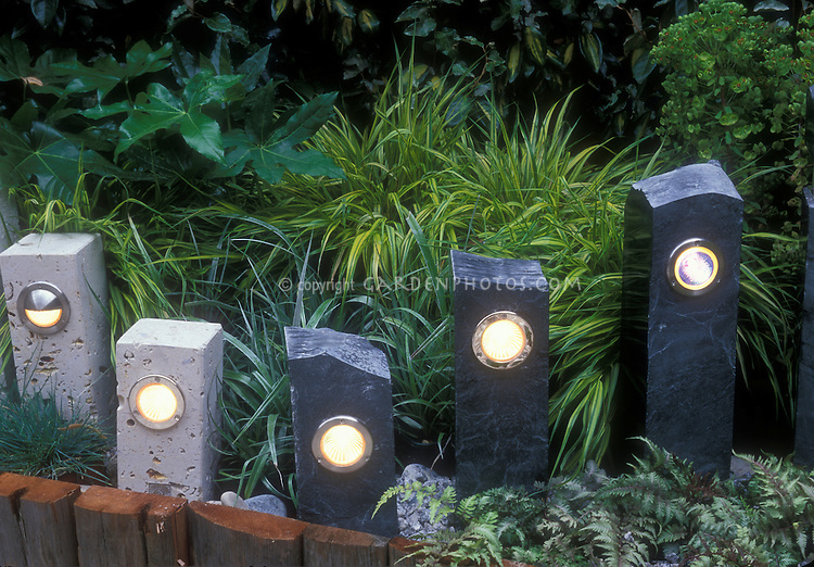 Garden walkway night lighting plant flower stock photography - Night yard landscaping with outdoor lights ...