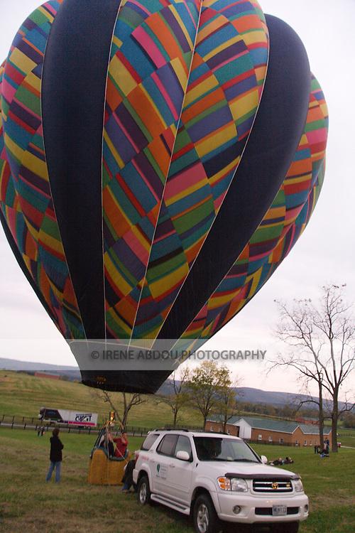 Hot air balloons dot the landscape at the 2008 Shenandoah Valley Hot Air Balloon Festival at Historic Long Branch in Millwood, Virginia.