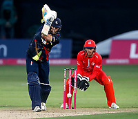 Calum Haggett bats for Kent during the T20 Quarter-Final game between Kent Spitfires and Lancashire Lightning at the St Lawrence ground, Canterbury, on Aug 23, 2018.