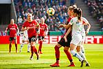 01.05.2019, RheinEnergie Stadion , Köln, GER, 1.FBL, Borussia Dortmund vs FC Schalke 04, DFB REGULATIONS PROHIBIT ANY USE OF PHOTOGRAPHS AS IMAGE SEQUENCES AND/OR QUASI-VIDEO<br /> <br /> im Bild | picture shows:<br /> Sharon Beck (SC Freiburg Frauen #10) im Duell mit Sara Bjoerk Gunnarsdottir (VfL Wolfsburg #7), <br /> <br /> Foto © nordphoto / Rauch