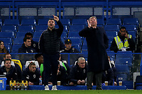 AFC Wimbledon's Interim Manager, Simon Bassey issues some instructions alongside the new AFC Wimbledon Manager, Wally Downes during Chelsea Under-21 vs AFC Wimbledon, Checkatrade Trophy Football at Stamford Bridge on 4th December 2018