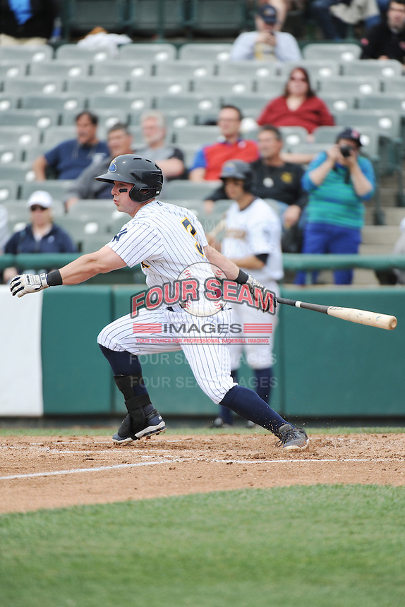 Trenton Thunder outfielder Taylor Dugas (3) during the game against the Harrisburg Senators at ARM & HAMMER Park on May 21, 2014 in Trenton, New Jersey.  Harrisburg defeated Trenton 9-0.  (Tomasso DeRosa/Four Seam Images)