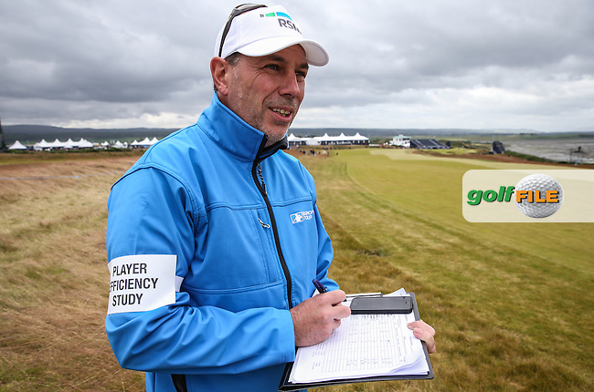 RSM Player Efficiency Study volunteer monitoring the play down the 18th during Round Two of the 2016 Aberdeen Asset Management Scottish Open, played at Castle Stuart Golf Club, Inverness, Scotland. 08/07/2016. Picture: David Lloyd | Golffile.<br /> <br /> All photos usage must carry mandatory copyright credit (&copy; Golffile | David Lloyd)