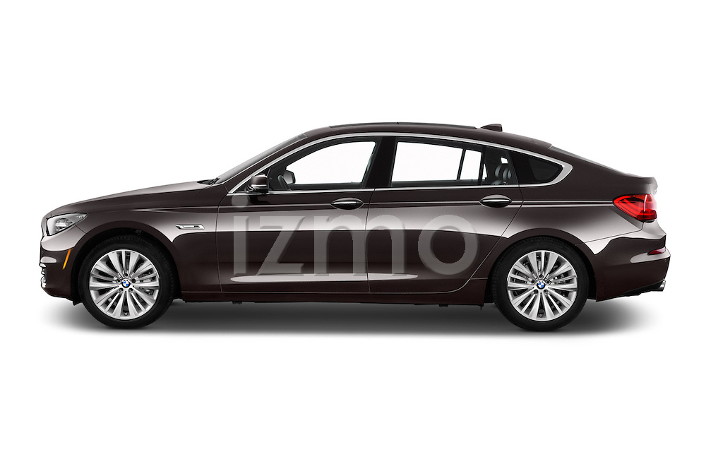 Car Driver side profile view of a 2015 BMW 5 Series 535i Gran Turismo Luxury Line 5 Door Hatchback Side View