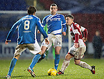 St Johnstone v Hamilton Accies…28.01.17     SPFL    McDiarmid Park<br />Joe Shaughnessy clears the ball from Daniel Redmond<br />Picture by Graeme Hart.<br />Copyright Perthshire Picture Agency<br />Tel: 01738 623350  Mobile: 07990 594431