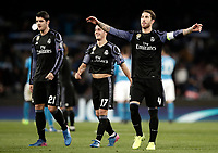 Football Soccer: UEFA Champions League Round of 16 second leg, Napoli-Real Madrid, San Paolo stadium, Naples, Italy, March 7, 2017. <br /> Real Madrid's Sergio Ramos (r) Lucas Vazquez (c) and Alvaro Morata (l) celebrate after winning the Champions League football soccer match between Napoli and Real Madrid at the San Paolo stadium, 7 March 2017. <br /> Real Madrid won 3-1 to reach the quarter-finals.<br /> UPDATE IMAGES PRESS/Isabella Bonotto