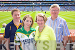 Conor Gleeson, Denise Cahill, Jim and Catherine Gleeson from Killarney Supporting Kerry at Croke park on Sunday.