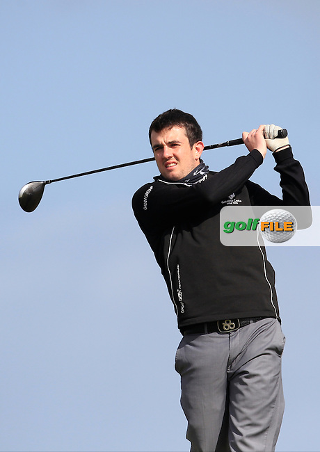 Jamie Sutherland (Galgorm Castle) on the 2nd tee during Round 2 of the East of Ireland Amateur Open Championship at Co. Louth Golf Club, Baltray on Sunday 30th May 2015.<br /> Picture:  Thos Caffrey / www.golffile.ie
