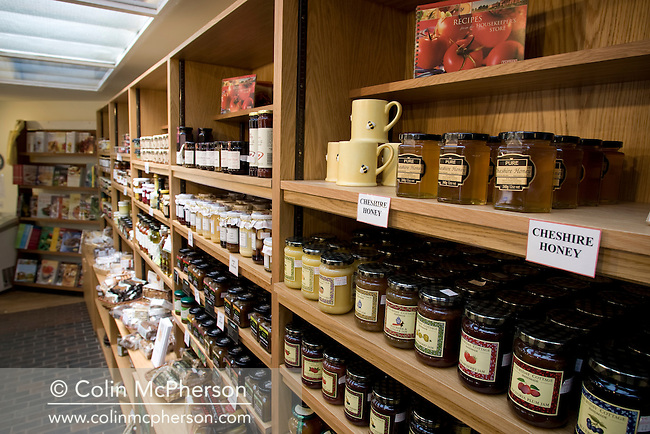 An internal view of produce n sale at the Housekeeper's Store, located next to the Stableyard within Tatton Park and pictured for the Cheshire Food Trail.  After an extensive refurbishment, the new look Housekeeper's Store at Tatton Park officially reopened on May 28th 2008.