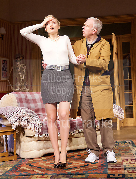 Dead Funny<br /> by Terry Johnson<br /> at the Vaudeville Theatre, London, Great Britain  Press Photocall<br /> 1st November 2016 <br /> <br />    <br /> <br /> <br /> Steve Pemberton as Brian <br /> <br /> Emily Berrington as Lisa <br /> <br /> <br /> <br /> <br /> <br /> Photograph by Elliott Franks <br /> Image licensed to Elliott Franks Photography Services