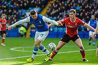 Sheffield Wednesday's forward Gary Hooper (14) controls the ball with Barnsley's defender Liam Lindsay (6) close behind during the Sky Bet Championship match between Sheff Wednesday and Barnsley at Hillsborough, Sheffield, England on 28 October 2017. Photo by Stephen Buckley / PRiME Media Images.