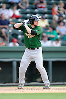 First baseman Michael Katz (24) of the Savannah Sand Gnats, bats in a game against the Greenville Drive on Sunday, July 5, 2015, at Fluor Field at the West End in Greenville, South Carolina. Savannah won, 8-6. (Tom Priddy/Four Seam Images)