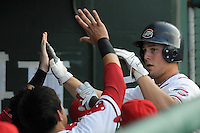 July 29, 2009: Catcher Ryan Lavarnway (33) of the Greenville Drive is congratulated after hitting a home run during a game at Fluor Field at the West End in Greenville, S.C. Photo by: Tom Priddy/Four Seam Images