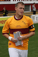 Steven Hammell enters the pitch at the Motherwell v Everton friendly match at Fir Park, Motherwell on 21.7.12 for his Testimonial.