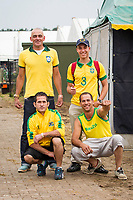 The Brazilian Showjumpers are getting excited at half time of the FIFA World Cup: Brazil-Chili Game: 1 : 1 : 2014 BEL-Bonheiden CSI1*/CSI3* (Saturday 28 June) CREDIT: Libby Law COPYRIGHT: LIBBY LAW PHOTOGRAPHY - NZL