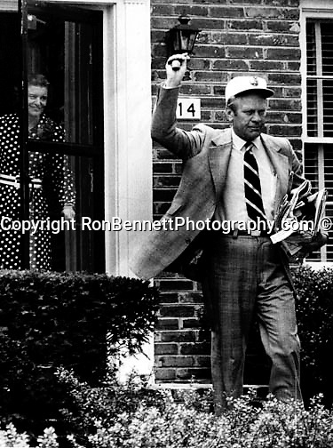 President Gerald Ford waves to his wife Betty in Alexandria Virginia as he leaves for work at the White House, In Gerald Fords second term in Congress (R-Michigan) the family moved to their home at 514 Crown View Drive Alexandria Virginia where they remained until a few days after he became President of the United States,