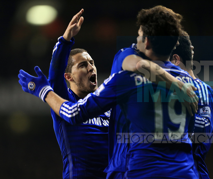 Chelsea's Eden Hazard celebrates his sides opening goal<br /> <br /> Barclays Premier League - Tottenham Hotspur vs Chelsea - White Hart Lane  - England - 1st January 2015 - Picture David Klein/Sportimage