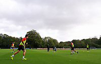 Pictured: Wales players warm up. Monday 02 October 2017<br /> Re: Wales football training, ahead of their FIFA Word Cup 2018 qualifier against Georgia, Vale Resort, near Cardiff, Wales, UK.