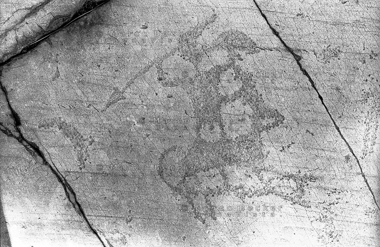Capo di Ponte (Brescia). Parco nazionale delle incisioni rupestri di Naquane. Guerriero con lancia in piedi su cavallo --- Capo di Ponte (Brescia). The Naquane National Park of Rock Engravings. Warrior with lance standing on a horse