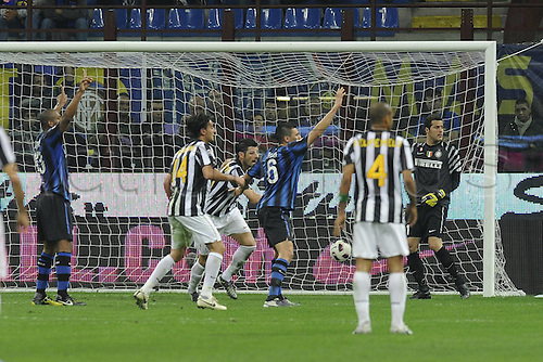 03.10.2010 Inter Milan and Juventus took a point each from the Derby d'Italia at the San Siro with a goalless draw. Picture shows Vincenzo Iaquinta with a goal ruled out by the linesman.