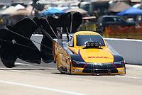 Apr 25, 2015; Baytown, TX, USA; NHRA funny car driver Del Worsham during qualifying for the Spring Nationals at Royal Purple Raceway. Mandatory Credit: Mark J. Rebilas-