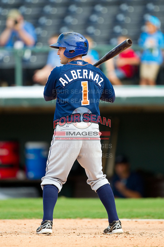 Craig Albernaz (1) of the Durham Bulls at bat against the Charlotte Knights at Knights Stadium on August 18, 2013 in Fort Mill, South Carolina.  The Bulls defeated the Knights 5-1 in Game Two of a double-header.  (Brian Westerholt/Four Seam Images)
