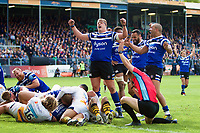 Bath Rugby players celebrate a try from Zach Mercer. Gallagher Premiership match, between Bath Rugby and Wasps on May 5, 2019 at the Recreation Ground in Bath, England. Photo by: Ian Johnson for Onside Images