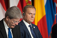 Rome, Italy, March 25,2017. European Council President Donald Tusk attends the meeting in the Orazi and Curiazi Hall at the Palazzo dei Conservatori during an EU summit in Rome. European Union leaders were gathering in Rome to mark the 60th anniversary of their founding treaty and chart a way ahead following the decision of Britain to leave the 28-nation bloc.