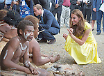 """CATHERINE, DUCHESS OF CAMBRIDGE AND PRINCE WILLIAM.visited replicas of cultural villagers that represented the nine districts of the Solomon Islands on the second day of their 3-day visit to the Solomon Islands..On departure she was presented with a head-garland consisting of frangipani and orchids, Honiara_17/09/2012.Mandatory credit photo: ©Dunlea/DIASIMAGES..""""NO UK SALES FOR 28 DAYS""""..(Failure to credit will incur a surcharge of 100% of reproduction fees)..                **ALL FEES PAYABLE TO: """"NEWSPIX INTERNATIONAL""""**..IMMEDIATE CONFIRMATION OF USAGE REQUIRED:.DiasImages, 31a Chinnery Hill, Bishop's Stortford, ENGLAND CM23 3PS.Tel:+441279 324672  ; Fax: +441279656877.Mobile:  07775681153.e-mail: info@newspixinternational.co.uk"""