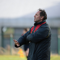 20140209 - TUBIZE , BELGIUM : Belgian coach Kris Van Der Haegen pictured during a friendly soccer match between the Under 19 ( U19) women teams of Belgium and The Netherlands , Sunday 9 February 2014 in Tubize . PHOTO DAVID CATRY