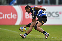 Robbie Fruean of Bath Rugby scores a second half try. Aviva Premiership match, between Bath Rugby and Gloucester Rugby on April 30, 2017 at the Recreation Ground in Bath, England. Photo by: Patrick Khachfe / Onside Images