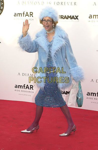 UNNAMED.Cannes Film Festival, France,.May 2001..full length blue fluffy hat coat.Ref: PL.www.capitalpictures.com.sales@capitalpictures.com.©Capital Pictures.