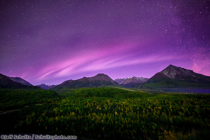 Fall landscape of Aurora Borealis (Northern Lights) over Matanuska River valley  and Chugach Mountains in Southcentral, Alaska  Fall/Autumn<br /> <br /> <br /> Photo by Jeff Schultz/SchultzPhoto.com  (C) 2018  ALL RIGHTS RESERVED