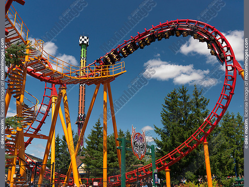 The Bat roller coaster at Canada's Wonderland amusement park. Vaughan Ontario Canada.