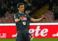 Manolo Gabbianini  reacts during the Italian Serie A soccer match between   SSC Napoli and Atalanta  at San Paolo  Stadium in Naples ,March 22 , 2015<br /> <br /> <br /> incontro di calcio di Serie A   Napoli -Atalanta allo  Stadio San Paolo  di Napoli , 22  Marzo 2015