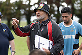 Weymouth Coach Mike Tu'ua. Counties Manukau Premier 3 Counties Power Club Rugby Round 1 game between Maramarua and Weymouth, played at Maramarua on Saturday April 7th, 2018. Weymouth won the game 43 - 17 after leading 33 - 0 at halftime.<br /> Photo by Richard Spranger.