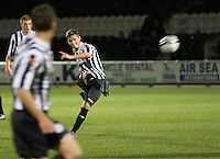 Thomas Reilly scores from the free kick in the St Mirren v Dunfermline Athletic Clydesdale Bank Scottish Premier League U20 match played at St Mirren Park, Paisley on 2.10.12.