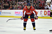 WASHINGTON, DC - FEBRUARY 26: Washington Capitals left wing Alex Ovechkin (8) waits for a face-off during the Ottawa Senators vs. Washington Capitals NHL game February 26, 2019 at Capital One Arena in Washington, D.C.. (Photo by Randy Litzinger/Icon Sportswire)
