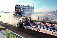 Aug 15, 2014; Brainerd, MN, USA; NHRA top fuel dragster driver Antron Brown during qualifying for the Lucas Oil Nationals at Brainerd International Raceway. Mandatory Credit: Mark J. Rebilas-