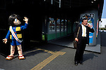 A Kitaro character entertains on the streets of Sakaiminato.