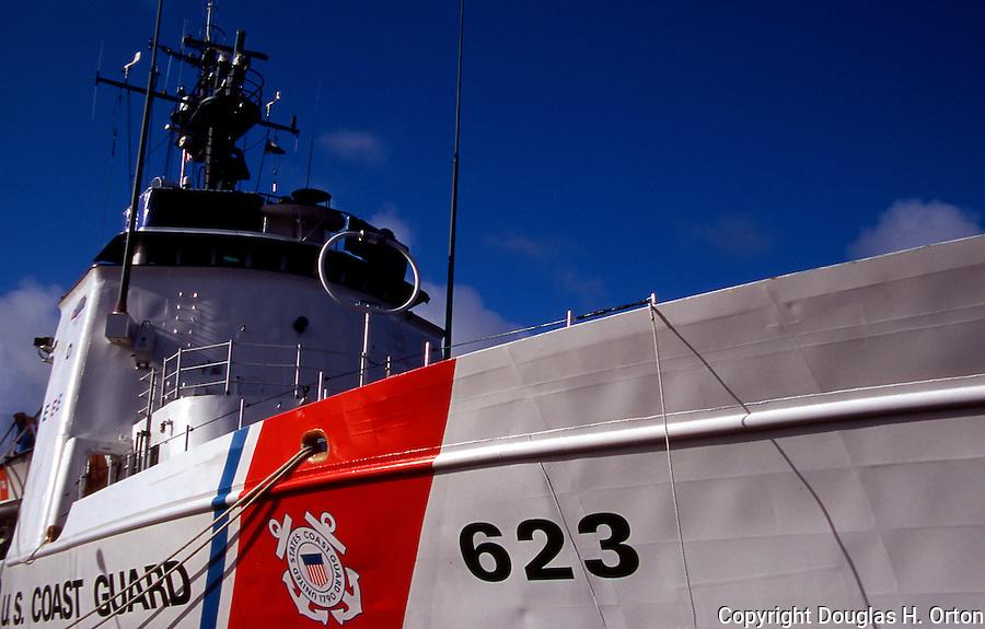 Old U.S. Coast Guard cutter on display at Astoria, Oregon, Maritime Museum.