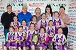 Scartaglen NS Girls celebrate winning the Junior NS Girls A final at the St Marys Christmas basketball blitz in Castleisland on Friday front row l-r: Maggie Riordan, Ruby Horgan, Molly Mahony, Sophie Horgan, Niamh O'Donnell, Middle row: Katie Kerin, Laura McShane, Michaela Buckley, Charlie O'Keeffe, Tara Kerin, Shauna McCarthy, Paul Moroney Principal, Mossie Kerin, Ciara Kerin, Michaela Ahern Miss Basketball and Ella Kerin