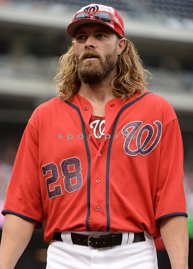 Washington Nationals Jayson Werth (28) during a game against the Milwaukee Brewers on July 4, 2016, at Nationals Park in Washington DC. The Brewers beat the Nationals 1-0.