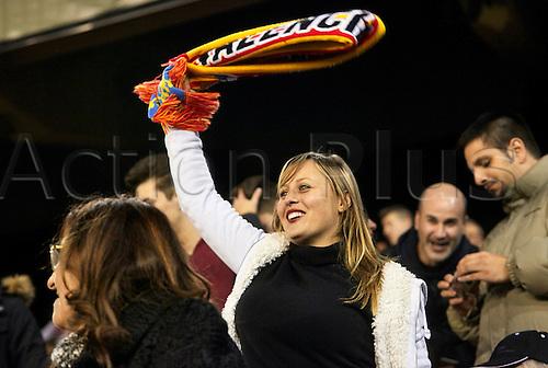 18.02.2016. Mestalla Stadium, Valencia, Spain. Europa League. Valencia versus Rapid Wien. Valencia Supporters celebrate a 6th goal for their team