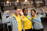 Jazmine Fenlator-Victorian (l-r), Carrie Russel and Audra Segree of the Jamaican women's bobsleigh team smile at a press conference in the Alpensia centre prior to the Winter Olympics in Pyeongchang, South Korea, 9 February 2018. Photo: Tobias Hase/dpa /MediaPunch ***FOR USA ONLY***