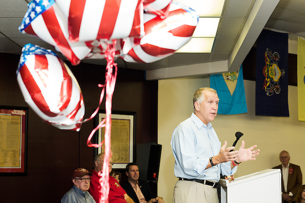 September 20, 2014. Greensboro, North Carolina.<br />  US Senate candidate Thom Tillis gave a short speech to supporters.<br />  Thom Tillis and Mark Walker hosted a rally at the Guilford County Republican Party headquarters for their supporters in the upcoming November election. Tillis, the current Speaker of the House for the NC House of Representatives, is running to take Democrat Kay Hagan's US Senate seat, while Walker, a local pastor, is running for the NC 6th District' s US Congressional seat.