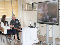 16 June 2017 - Princess Kate, Duchess of Cambridge, Patron of the 1851 Trust, Patron of the 1851 Trust, with Keith Mills speaks to sailor Ben Ainslie on a video screen at the charity's final Land Rover BAR Roadshow at the Docklands Sailing and Watersports Centre in London. Photo Credit: ALPR/AdMedia