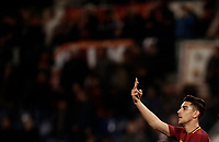 Calcio, Serie A: AS Roma - Torino Roma, stadio Olimpico, 9 marzo, 2018.<br /> Roma's Lorenzo Pellegrini celebrates after scoring during the Italian Serie A football match between AS Roma and Torino at Rome's Olympic stadium, 9 marzo, 2018.<br /> UPDATE IMAGES PRESS/Isabella Bonotto